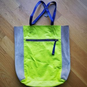 H&M Green & Purple Colorblock Suede Tote Bag